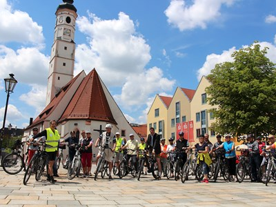 Start am Marienplatz in Dorfen